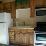 The casita kitchen features full-sized appliances